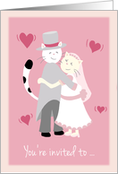 Engagement Party, Invitation, Bride and groom cat hugging card