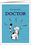Happy National Doctors' Day, Holiday, Cat doctor with stethoscope card