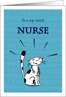 Happy Nurses Day, Nurse cat looking proud, For colleague, coworker card