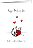Happy Mother's Day, From pet, From cat, Cat hugging yarn card