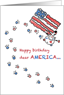 Cat paints American flag - Independence Day July 4th Birthday card