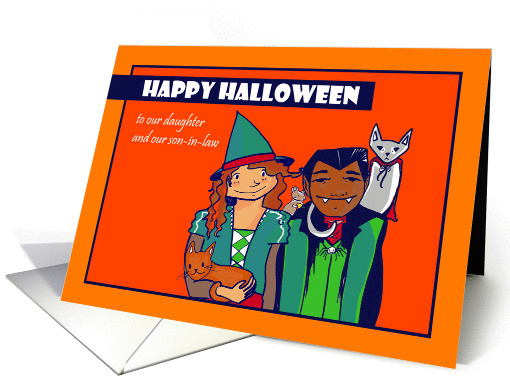 Halloween daughter and our son-in-law - Interracial Couple card