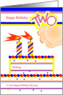 Happy 2nd Birthday, Cake with 2 Candles card