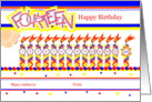 Happy 14th Birthday, Cake with 14 Candles card