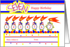 Happy 7th Birthday, Cake with 7 Candles card