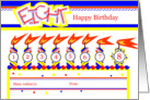 Happy 8th Birthday, Cake with 8 Candles card