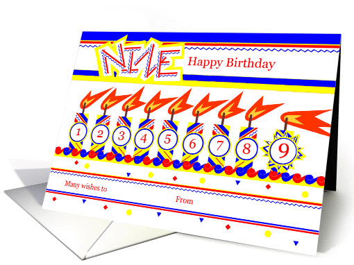 Happy 9th Birthday, Cake with 9 Candles card (827816)