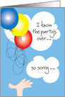 Belated Birthday, The Party's Over with Balloons and Clouds card