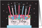 Hand Lettered Birthday, Floral Cake, Decorated Sparkling Candles card