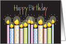 Hand Lettered Business Birthday with Colorful Patterned Candles card