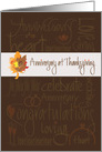 Anniversary at Thanksgiving, Romantic Words and Autumn Leaves card