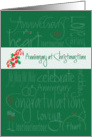 Anniversary at Christmastime, Romantic Words and Holly Sprig card