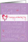 Anniversary on Valentine's Day, Romantic Words and Layered Hearts card