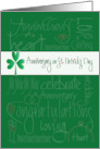 Anniversary on St. Patrick's Day, Shamrock and Romantic Words card