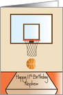 Basketball 11th Birthday for Nephew, Basketball Hoop card