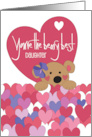 Hand Lettered Valentine for Daughter Love You Bear-y Much Bear card