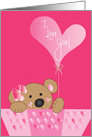 Valentine with Bear Balloon, I Love you card