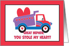 Valentine for Great Nephew, Truck with Heart, You Stole my Heart card