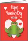 Valentine for Nephew Hoppy Valentine's Day with Green Spotted Frog card