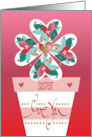Valentine for Sister Heart-Covered Cupcake with Lavender Bow card