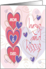 Valentine for Mom and Dad with Bright Colored Heart Balloons card
