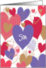 Hand Lettered Valentine for Son with Colorful Heart-Shaped Balloons card