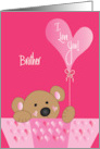 Valentine Brother, I Love You Bear & Cranberry Balloon card