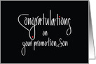 Hand Lettered Congratulations on your promotion Son, with red dots card