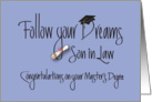 Graduation for Son in Law for Master's Degree, Diploma card