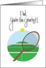 Birthday for Dad with Tennis Racquet and Tennis Ball card