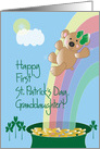 First St. Patrick's Day for Granddaughter, Bear on Rainbow card