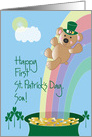 First St. Patrick's Day for Son, Bear on Rainbow card