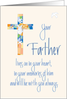 Sympathy for Loss of Father, Stained Glass Cross and Dove card