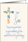 Sympathy in Loss of Son, Stained Glass Cross and Dove card