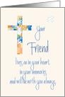 Sympathy in Loss of Friend, Stained Glass Cross card