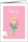Thank You, with Flower Bouquet In Hand card