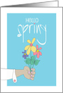 Hand Lettered Hello Spring, With Colorful Bouquet Offered in Hand card
