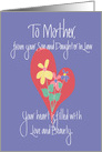 Mother's Day for Mother from Son & Daughter in Law, Floral Heart card