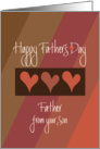 Father's Day from Son, Trio of Hearts, Brown & Orange Diagonals card