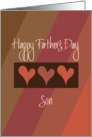 Father's Day to Son, Trio of Hearts & Diagonal Color Stripes card