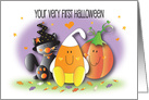 Baby's 1st Halloween with Candy Corn, Pumpkin and Black Cat card