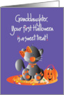 First Halloween for Granddaughter, Kitty with Sweet Treat Candy card