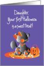 First Halloween for Daughter, Kitty in Orange Bow with Candy card