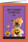 1st Halloween for Son, Jack O' Lantern Bear with Pumpkin Pull Toy card