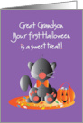 First Halloween for Great Grandson, Kitty with Sweet Treat Candy card