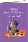 First Halloween for Nephew, Black Kitty with Sweet Treat Candy card