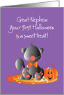 First Halloween for Great Nephew, Black Kitty with Candy card