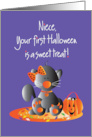 First Halloween for Niece, Kitty in Orange Bow with Sweet Treats card
