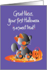 First Halloween for Great Niece, Kitty with Sweet Treat Candy card