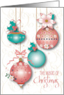 Hand Lettered Magic of Christmas Decorated Ornaments and Poinsettias card